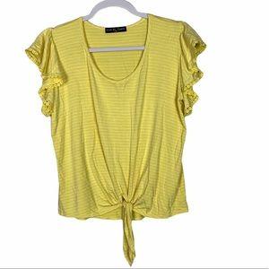 Kim & Cami Tie Front Flutter Appliqué Sleeve Top S
